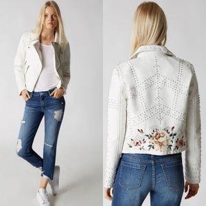 BLANKNYC Full Bloom White Vegan Leather Jacket